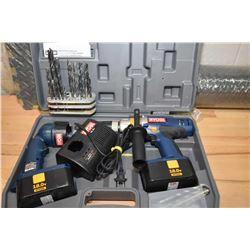 Near new in hard case Riobi 18 volt drill & flashlight set plus a drill index with drills