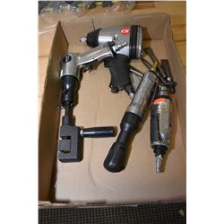 """Selection of air tools including chisel, 3/8"""" ratchet, 1/2"""" impact and a straight shaft drills"""