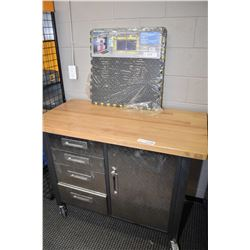 Mastercraft rolling work bench with selection of assorted tools, sockets etc. and some work floor ma