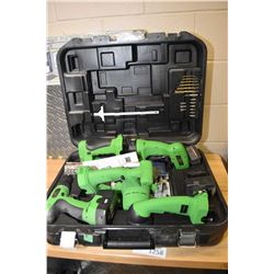 Superior brand 18 volt cordless tool kit with jigsaw, sander, drill circular saw, flashlight, two ba