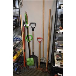 Selection of garden tools including green machine, cultivator, weeder, shovel, edger and assorted ha