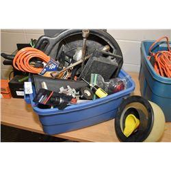 """Selection of shop accessories including funnels, oil drain pan, brand new 1/2"""" drive flex ratchet et"""