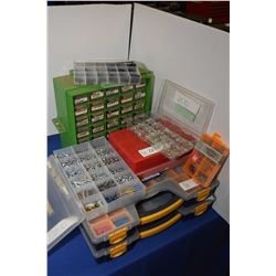 Selection of organizers and contents including O rings, screws, electrical connectors etc.