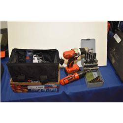 Black & Decker 20 volt cordless drill, no charger found, plus assorted packaged screwdriver bits and