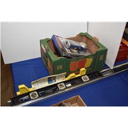 Selection of tools including Mastercraft laser level measurer, circular saw blade wall clock, tool p