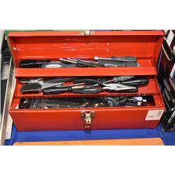 Metal tool box with assorted hand tools including screwdrivers, wrenches, pliers etc, all appear new