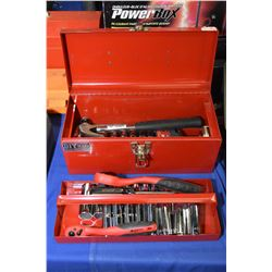 Selection of new tools including ratchets, sockets , hammers etc. in a portable tool box