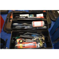 Plastic portable tool box containing assorted tools, some used, some new, adjustable wrenches, screw