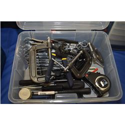 Plastic tote containing a large selection of mostly new tools, Imperial and metric long combination