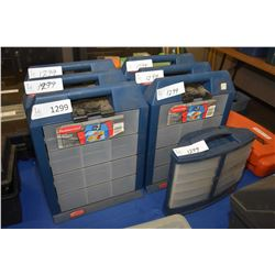 Seven Rubbermaid organizers, some with assorted hardware