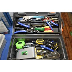 Plastic tool box with large selection of mostly new tools including pliers, measuring tape, screwdri
