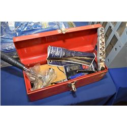 Small portable tool box and contents including predominately new tools including claw hammer, ratche