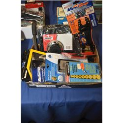 Tray lot of predominately new tools including tool pouch, folding knife, viper grip pliers, adjustab