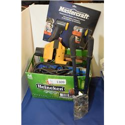 Assorted tools including bolt cutters, electric temperature reader and stud sensor, quick vise, wire
