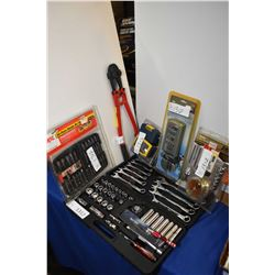 Metrich new in box metric and Imperial socket and wrench set, set of bolt cutter, assorted screwdriv