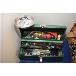 Small metal tool box with selection of new tools including hex socket set, set of three robo wrenche