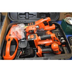 Black & Decker 18 volt multi set including circular saw, reciprocating saw, drill, vacuum, flashligh