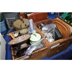 Two wooden retail boxes with large selection of collectibles including barometer, hot plate, enamelw