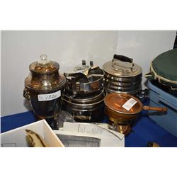 Electric silver-plate Samovars, a melting pot with spirit burner and The Cary Health Cooker cooking
