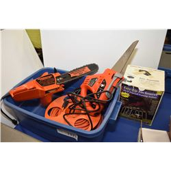 """Remington 10"""" electric chain saw, a Black & Decker NaviGator powered hand saw, rolled extension cord"""