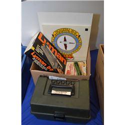 "Boxed ""The American"" Scotch duck call, Lyman reloading scale, 12 gauge shot gun shells etc., note va"