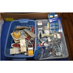 Tub containing assorted tools, adjustable wrenches, tool rolls, soldering gun etc.