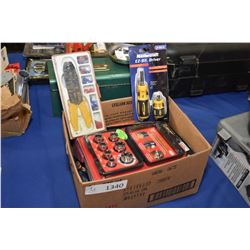 Selection of predominately new tools including screwdrivers, dead blow hammer, multi screwdriver kit