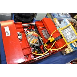 Portable tool box containing predominately new tools including wrench sets, screwdriver set, cable t