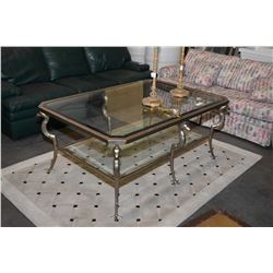 Top quality large metal and glass coffee table