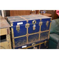 Blue metal steamer trunk