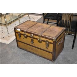 Vintage metal bound steamer trunk with tray