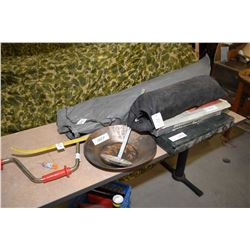 Selection of camping equipment including Coleman stove, tents, gold mining pan, horse shoe set etc.