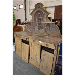 Large antique high back sideboard, needs tlc.