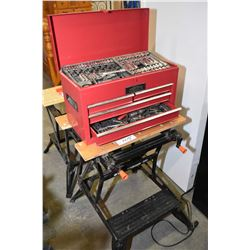 Workmate 50 portable bench and a Jobmate tool box containing sockets, wrenches etc.
