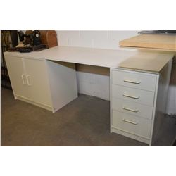 Ikea double pedestal desk with cupboards on one side and drawers on the others