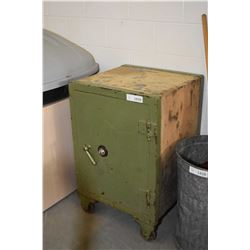 Small antique safe fitted with locking drawers and shelves inside, standing on metal wheels, combina
