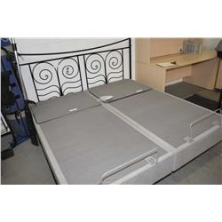 King sized remote control independently adjustable bed with wrought iron headboard