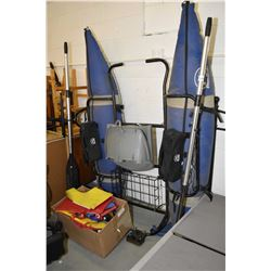 WaterSkeeter personal pontoon craft with oars, hip waders and life jackets