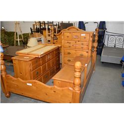 Five piece pine bedroom suite including mirrored dresser, highboy, end tables and Queen sized bed