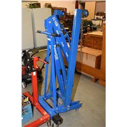 "Heavy duty folding hydraulic ""Power Lift"" shop crane/engine hoist"