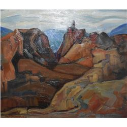 """Framed oil on masonite titled on verso """"Open Mine at Riondel BC"""" 1931, signed by artist Nan Cheney ("""