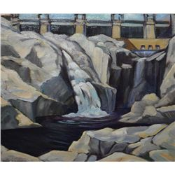 """Framed oil on board painting title on verso """"Below the Dam"""" 1928, signed be artist Nan Cheney (Anna"""