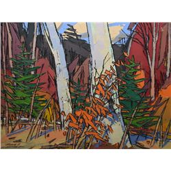 """Framed oil on masonite titled on verso """"Two Birch"""", signed by artist Thomas F Chatfield, 16""""x20"""""""