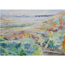 """Framed acrylic on canvas framed on verso """"Hills in Autumn"""", signed on verso by artist Dorothy Knowle"""