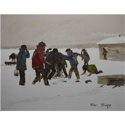 """Framed acrylic on canvas titled on verso """"Having a Fight"""" 1974, signed by artist Allen Sapp, 16""""x20"""""""