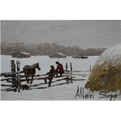 """Framed acrylic on canvas of people sitting on a pasture fence, signed by artist Allen Sapp, 5""""x 6 1/"""