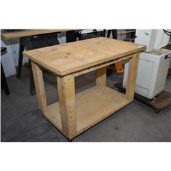 Shop made rolling wooden work bench