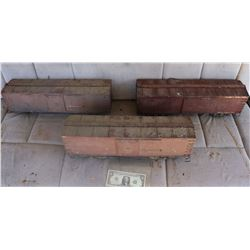 TRAINS BOX CARS ANTIQUE FILMING MINIATURE LOT OF 3