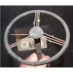 CAR STEERING WHEEL WITH COLUMN ANTIQUE FILMING MINIATURE 2