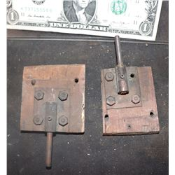 TRAIN LATCHES ANTIQUE FILMING MINIATURE LOT OF 2